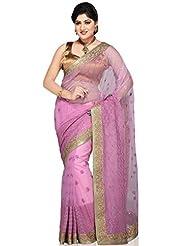 Utsav Fashion Women's Light Pink Net Saree With Blouse