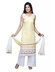 Lemon Cotton Straight Salwar Kameez For Ladies