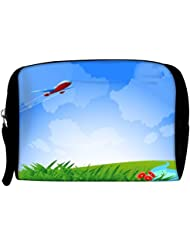 Snoogg An Airplane In The Sky Vecto Travel Buddy Toiletry Bag / Bag Organizer / Vanity Pouch