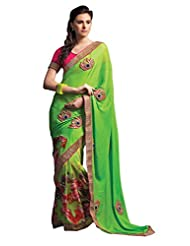 Anvi Creations Digital Printed Embroidered Georgette Chiffon Green Saree (Green_Free Size)