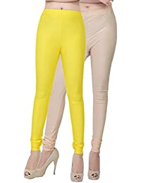 Fashion And Freedom Women's Pack Of 2 Yellow And Cream Satin Leggings