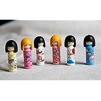Iwako Japanese Erasers Kokeshi Dolls Set Of 6