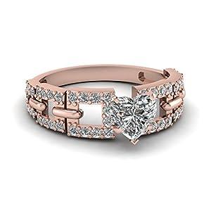 Fascinating Diamonds 1.45 Ct Heart Shape Diamond Interlock Style Pave Set Engagement Ring VS1-G 14K GIA