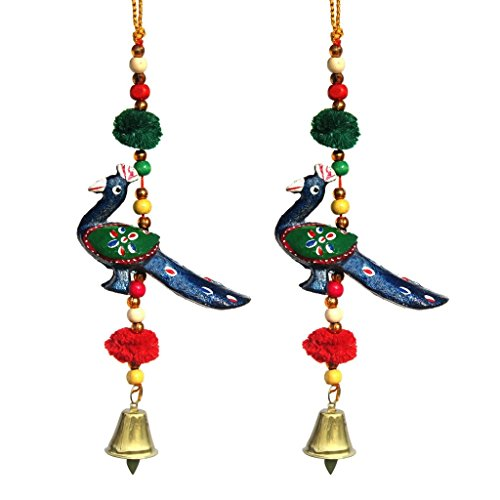 Door Hanging Blue Peacock With Wooden Beads Pumpum And Metal Bell Set Of 2 By Handicrafts Paradise