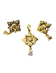Poddar Jewels Cubic Zirconia Golden Designer Pendant Set