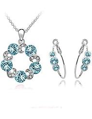 Waah Waah Sky Blue Austrian Crystal Ring Necklace Set (3-NE00-SS-1053)