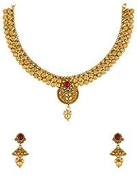 Voylla Stunning Gold Tone Necklace Set For Valentine Gift