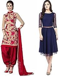 Sky Global Women's Regular Wear Dress Material And Kurti (Combo Pack Of 2)(SKY_DK_9025)(SKY_552_Red-Cream)(SKY...