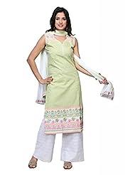 Aqua Cotton Straight Salwar Kameez For Ladies