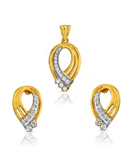 Mahi CZ Collection White Gold Plated CZ Pendant Set For Women-NL1101888G