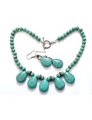MOAH Necklace & Earrings Of Sterling Silver & Art Turquoise For Women, NE1150