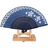 Banggood Mini Sakura Flower Cotton Blue Folding Hand Pocket Fan Gift Favor