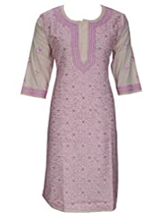 Ada Chikan Exclusive Hand Embroidered Casual Fawn Cotton Lucknow Kurti For Women A51651