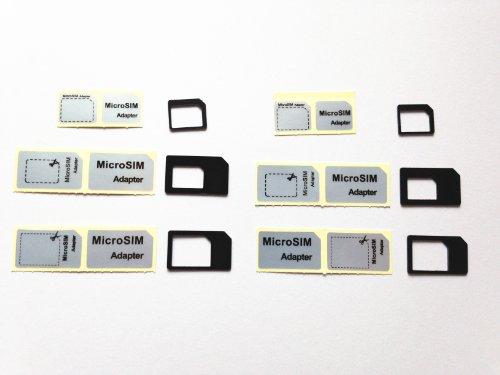 黒【iPhone5s 5c 5〓純正】ドコモ〓foma対応 nano SIM micro sim変換アダプタ 3点セット For iPhone 5 4S 4 nano sim→SIMカード or nano sim→micro sim +MicroSIM→SIMカードアダプター(黒)3セット×2