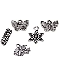 Saamarth Impex Butterfly, Fish, Flower 4 Pcs Charm Pendant With Oval Charm Loose Jewelry Accessories SIJ 19945