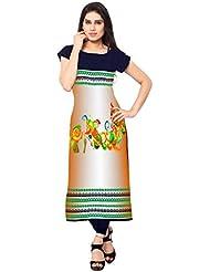 Kenil Fabrics Navy Blue And Orange Crepe Silk Unstich Printed Festivalwear Kurti For Women