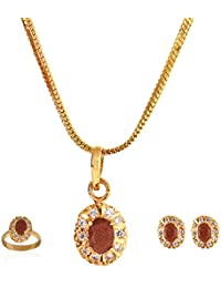 Be You Attention-Seeking Rhodium Plated Earring, Pendant & Ring Set For Women