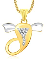 Ganpati God Pendant With Chain Lockets For Men And Women Gold Plated In American Diamond Cz GP328