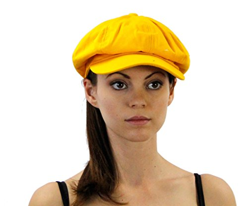 Washed Newsboy Cap for Men or Women, Unisex Yellow