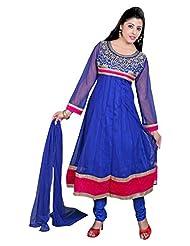 Divinee Blue Net Readymade Anarkali Suit - B0136DN3GU