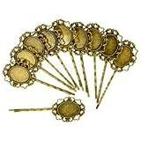 Alcoa Prime 10 Pcs Retro Bronze Gothic Flower Blank Oval Hair Clip Pin Headwear Jewelry