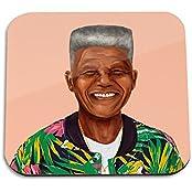 Nelson Mandela Wooden Coaster - Pop Art Modern Contemporary Decorative Art Coaster, Hipstory Project By Amit Shimoni...