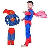 NAVKAR Superman Costume Fancy Dress Outfit Suit Mask Children (5-6) / Superman Kids Costume Wear/ Birthday Party Fancy Dress