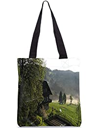Snoogg Bunglow Near The Lake Digitally Printed Utility Tote Bag Handbag Made Of Poly Canvas