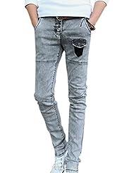 Men Mid Rise Belt Loop Front Pockets Slim Fit Tapered Jeans