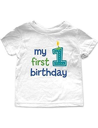 Amazon.com: My first birthday - baby boy design - baby tee ...
