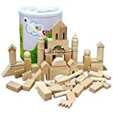 Alcoa Prime 65pcs Natural Wood Building Blocks Parents Kids Interactive Games Funny Toy