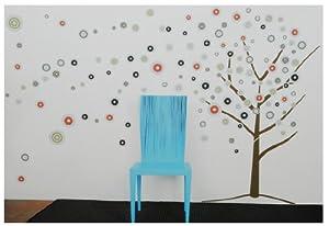 145 tlg. Set XXL Wandsticker Baum mit bunten Kreisen