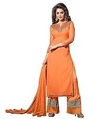 Trendz Apparels Orange 60 Gm Georgette Straight Cut Salwar Suit - B011KP8Y5Q