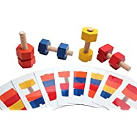 Wood Nuts And Bolts Toy With Pattern Cards Montessori Wood Toy, Learning Toy, Fine Motor