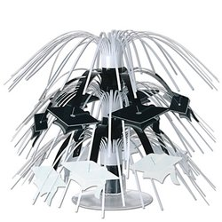 Mini Grad Cap Cascade Centerpiece (black & white) Party Accessory  (1 count) (1/Pkg)