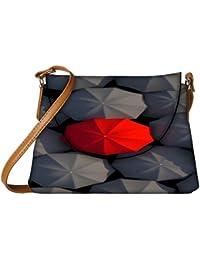 Snoogg Red And Black Umbrella Designer Womens Carry Around Sling Bags