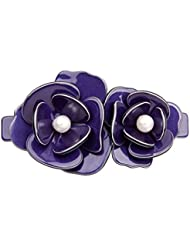 Imported Acrylic Faux Pearls Rose Flower Hair Clip Barrette Hairpin Clamp Blue