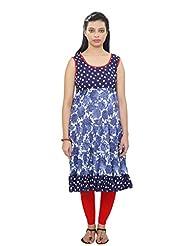 Cotton Womens Blue Polka Dot And Floral Frilled Long Kurta