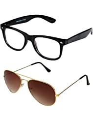 Sheomy Unisex Combo Pack Of Transparent Wayfarer Sunglasses And Golden Brown Aviator Sunglasses For Men And Women...