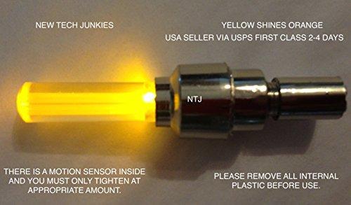 NTJ 1 Pair LED Motion Activated Bike Bicycle Wheel Valve Stem Cap Tire Light (Orange)