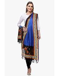 Riti Riwaz Royal Blue & Black Art Silk Printed Dupatta BG223