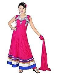 Divinee Magenta Net Readymade Anarkali Suit