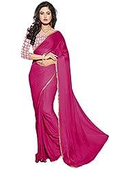 Aar Vee Women's Nazmin Saree (GM5_Pink & Beige)