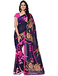 Anand Sarees Blue-Pink-Green Georgette Saree