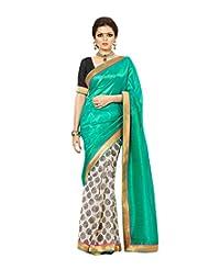 Green Off White Ethnic Wear Saree Printed Work Bhagalpuri Silk Sari