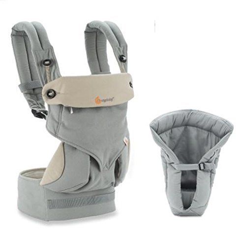 Ergobaby Bundle - 2 Items: Grey 4 Position 360 Carrier and Grey Infant Insert Image