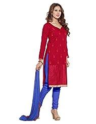 Desi Look Women' Red Chanderi Dress Material With Dupatta