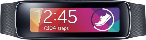 Samsung Gear Fit SM-R3500ZKAXAR Smartwatch - 1.84-inch Super AMOLED Display - 128 x 432 - Bluetooth 4.0 - houtskoal Swart (sertifisearre opknapt)