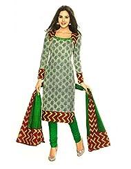 SGC Green Cotton Printed Unstitched Churidar Kameez - (SGS- 217)
