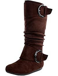 Top Moda Women S Bank- 81 Faux Suede Round Toe Buckle Knee High Flat Boot